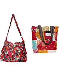 Indiweaves Combo Pack Of 1 Cotton Kantha Tote Bag And 1 Cotton Shopper Bag (Pack Of 2) 82100-131170-IW-P2