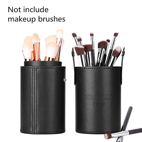 Makeup Brush Holder PU Leather Travel Portable for Desk or Dressing Table (Black)