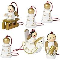 BRUBAKER - Suspensions pour Sapin de Noël - 6 Pièces - Anges & Cloches - Figurines en Bois peintes à la main - Décoration de Noël traditionnelle