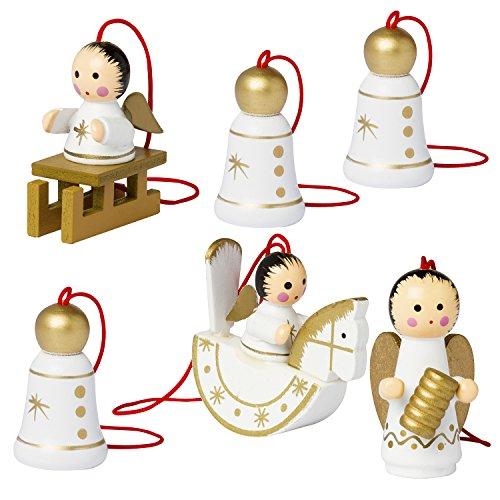 Brubakr statuine natalizie, raffiguranti angioletti e campane, realizzate in legno di alta qualità e dipinte a mano - ideate per essere appese all'albero di natale - decorazione natalizia da sei pezzi