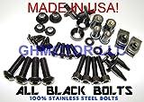 Ghmotor 199719981999200020012002200320042005Kawasaki ZZR600tutto nero carena bulloni e rondelle bulloni di fissaggio viti kit set Made in USA