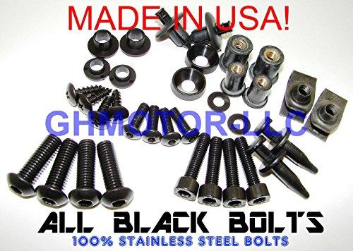 19989900010203042005HONDA Superhawk Firestorm VTR1000F komplett alle schwarz Verkleidung Schrauben gurthalteband Kit Made in USA (Usa Made Kolben, In)