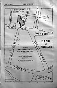 Princes 1872 de rue de l'Angleterre Gresham de banque de plan de constructeur Marsh Auctioneer