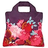 Envirosax Bloom Eco Reusable Roll Up Shopping Bag - Purple with Peonies
