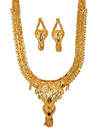 Mansiyaorange One Gram Gold Original Real Look Party Wedding Wear Golden Necklace Sets For Women(11 INCH LONG)