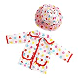 MagiDeal White Rainbow Dot Raincoat Coat & Hat Set Outfit for 18'' American Girl Doll