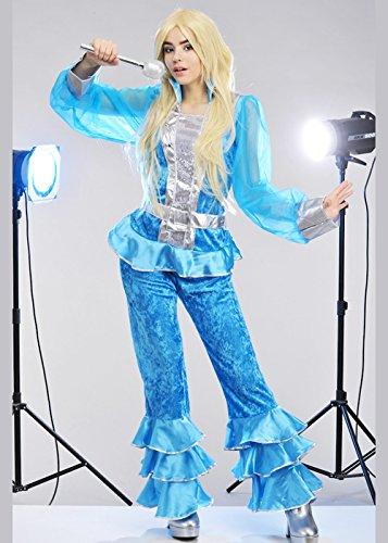 Abba Uk Kostüme Fancy Dress (Frauen 1970s Blaues und silbernes Abba Art-Kostüm M (UK)