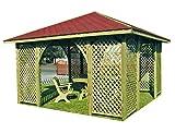 Stan-Wood GARTENLAUBE Holz PAVILLON mit Holzdach 4m x 4m (äußer 4.45m)