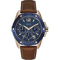 Guess Orologio al Quarzo da Uomo con Display analogico e braccialetto in pelle marrone w0600g3