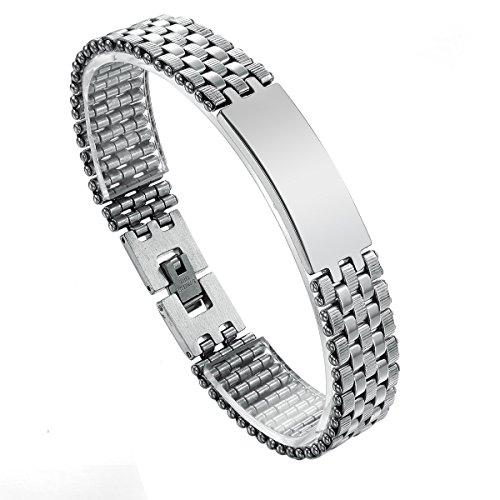 JewelryWe Schmuck Herren Männer Armband, Einfache Personalisierte Glatte Armreif, Biker, Edelstahl, Silber, mit kostenloser Gravur