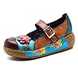 Socofy Damen Pantoletten, Sandalen Slip-Ons Sommer Leder Pantoffel Vintage Slipper Clogs High-Top Blume Espadrilles Schuhe Loafer Hausschuhe (38 EU, Blau-o)