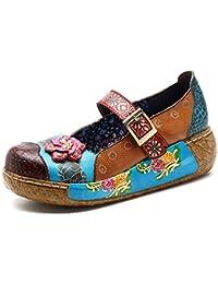 Socofy Sandalias de Mujer, Zapatos Merceditas para Mujer de Cuña de Flores Coloridas Zapatos de Cuero de La Vendimia Plataforma Slip-on Sandal Danza de Ballet Mocasines Casuales Oxford Zapatos