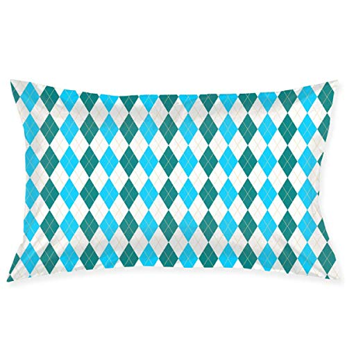 8350 Cover (Xukmefat Pillowcase Blue Squares and Green Squares Microfiber Pillow Cover Soft and Cozy,Decorative Throw Cushion Covers 20x30Inch)