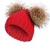 Damen Echtfell Waschbär Fell Pelz Bommel Strick Mütze Winter-Mütze Bommelmütze (rot)