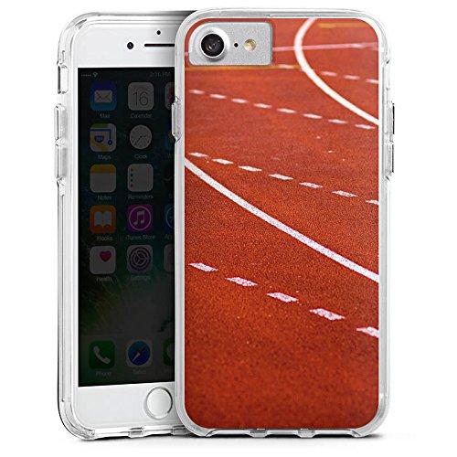 Apple iPhone 7 Plus Bumper Hülle Bumper Case Glitzer Hülle Rennen Racing Laufbahn Bumper Case transparent