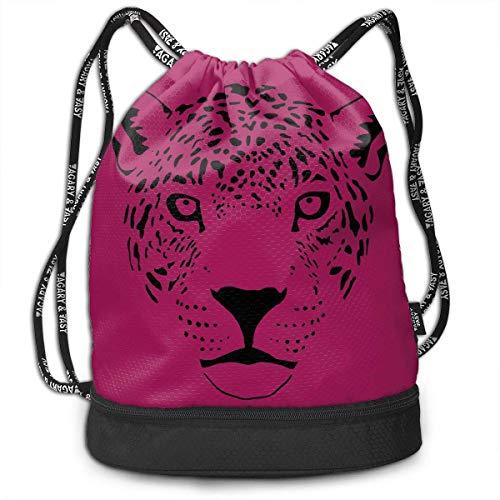 Bgejkos Unisex Jaguar Cougar Cat Puma Panther Leopard Drawstring Shoulder Backpack Travel Bag -