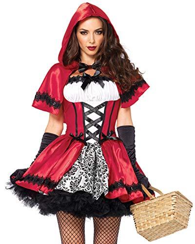 Monissy Damen Sexy Rotkäppchen Kostüm mit Umhang Halloween Weihnachten Performance Kleid Karneval Verkleidung Kostüm Nachtclub Königin Kostüm Gothic Red Riding Hood Rot (Gut Und Böse Kostüm)