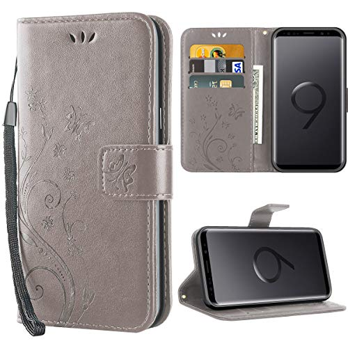 S9 hülle,Solide Butterfly PU Ledercase Tasche Schutzhülle Flip Samsung Galaxy S9 Case Magnetverschluss Handyhülle im Wallet - Grau -