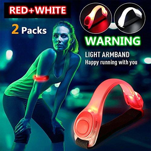 darkbeam Sicherheit LED-Lichtern, Wasser beständig ACHTUNG Armband Lichter für Läufer, Wanderer, Jogger, Riders. Hält sicher, während Sie sie sie ihre Outdoor-Aktivitäten, Rot/Weiß