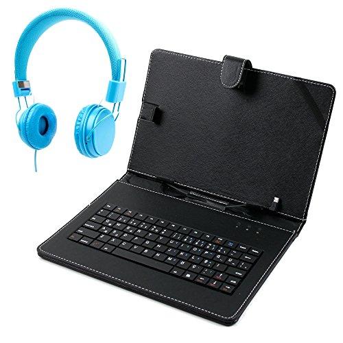 DURAGADGET Leder Etui (Kunstleder) in Schwarz mit integrierter Tastatur (Türkisch) für POLYPAD Q10 Tablets und Blaue Kinder Over-Ear Stereo Kopfhörer (Q10 Arabisch)