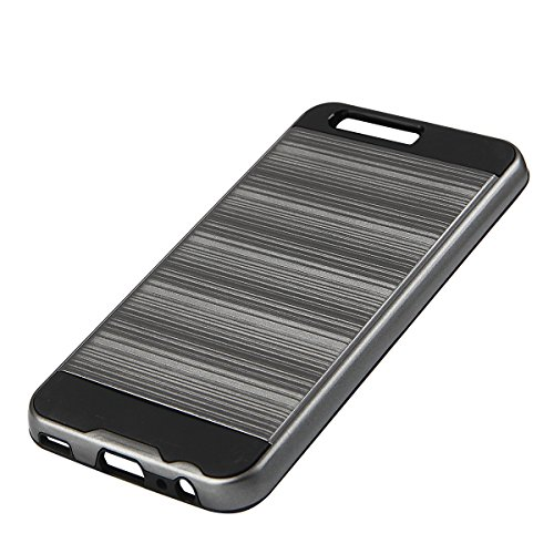 EGO® Hard Case Schutz Hülle für Huawei P10 Grau Metallic Effect Aluminium Brushed Handy Cover Schale Bumper Etui Top-Qualität Grau