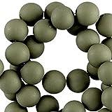 Sadingo Acrylperlen, Kunststoffperlen matt - 50 Stück - 10 mm - Schmuck selber Machen, Bunte Bastelperlen, Perlen für Kinder, Farbe:Army Green 2