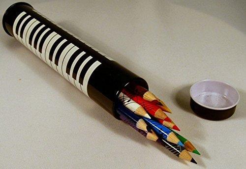 Elkin Music Zeichnung & Kunst Farbiger Bleistift Musical Design Zylinder Blech (Pk-12) - Tastatur