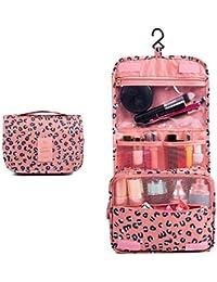 69587435e Hhpcspc Portátil de Viaje Plegable de Maquillaje Bolsas de Aseo con Gancho  Organizador Bolsas Bolsas de cosméticos Flor Azul para…