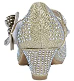 Lora Dora Girls Mary Jane Glitter Party Shoes Diamate Flower Gold 1 UK