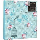 Diseño Vintage de flores rosas azules capacidad para fotografías 104 x 7 x 12,7 cm