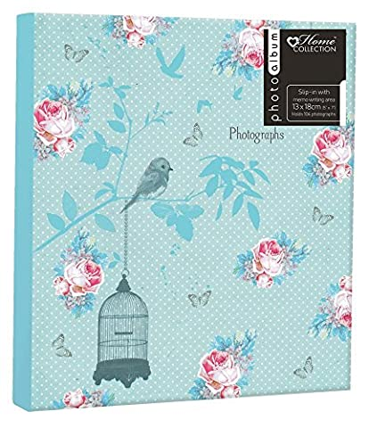 """Anker """"Floral Bird Cage"""" Glue Bound 2-Up Slip-In Photo/Picture Albums with Memo Writing Space to Fit 104 5 x 7-Inch Photos"""