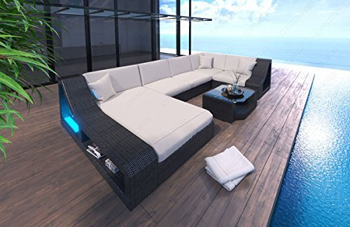 Poly Rattan Sofa Turino U Form mit LED