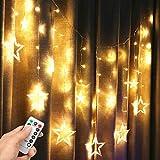 Stern Vorhang Licht,LED Lichterkette 4M Licht String 138 Perlen 8 Steuerbare Modes Effektlicht Lichtervorhang Weihnachtsbeleuchtung mit RF-Fernbedienung für Weihnachten Party Home Hause Hochzeit deko…