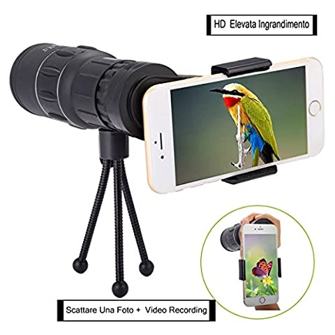 OUTERDO Monocular Dual Focus Telescope 16x52 Camping Wildlife Hunting Surveillance Sporting Events Traveling Scope Waterproof Optics Zoom Bright with Cell Phone Holder