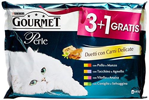 Gourmet Perle Gatto Duetti con Carni Delicate con Manzo e Pollo, Tacchino e Agnello, Vitello e Anatra, Coniglio e Selvaggina, 4 x 85 g - Confezione da 12 pezzi