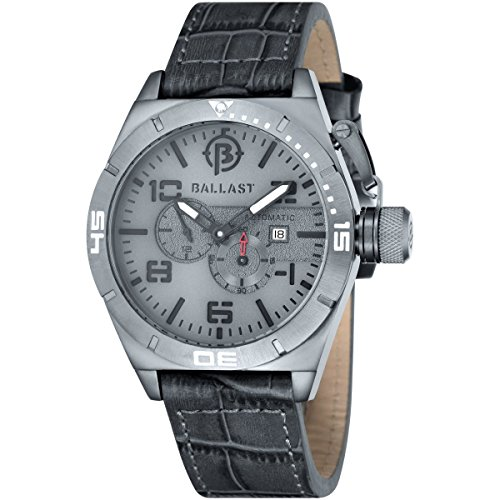 Ballast AMPHION Men's Black Genuine Leather Strap Watch - BL-3130-06