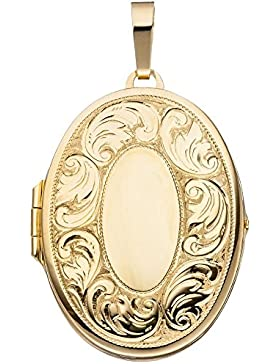 Medaillon für 2 Fotos Anhänger zum Öffnen oval mit Muster 925 Silber vergoldet
