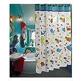 AnazoZ Duschvorhang Wasserdicht, Anti Schimmel, Umweltfreundlich Waschbar mit 12 Duschvorhangringen Ozean Welt Badvorhang für Badezimmer Badewanne 200 x 200 cm