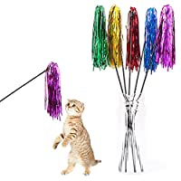 Ukallaite Funny Cat Toy Funny Bright Color Paper Pet Cat Kitten Tease Rod Wand Play Interactive Toy Pet Supplies