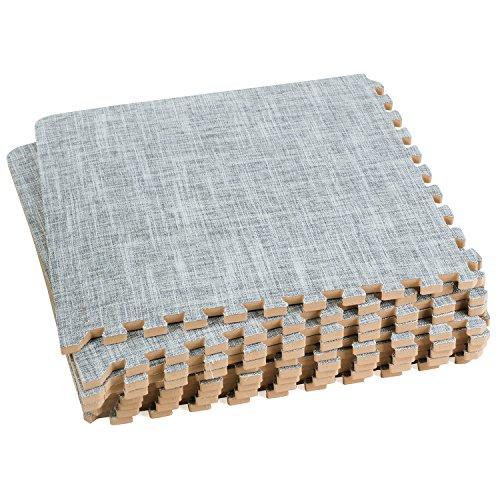 Dooboe Ineinander greifende Schaum Matten - Verriegelung Schaumstoff Matten - ineinandergreifenden Bodenfliesen - Leinenoptik Bodenfliesen - Gray - ungiftig, Anti-Müdigkeit 3 x 3' grau -