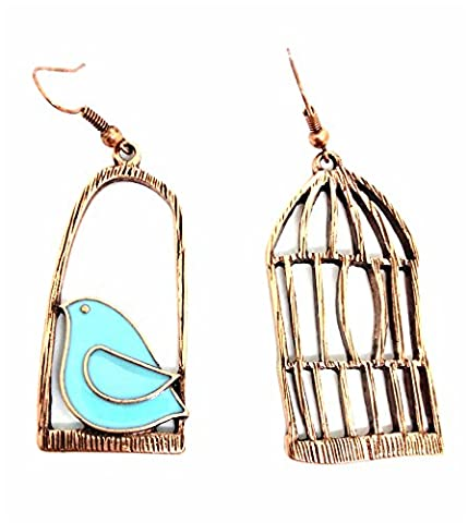 Retro Vögel Birdcage dissymmetry Geschenk jewelry Ohrringe
