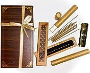 عود كمبودي بخور مدخن Oud Incense Burner Cones Diffuser Frankincense Sandalwood Wooden Box Coffin Charcoal Bakh