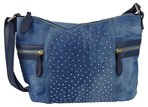 Jeans Umhängetasche mit kleinen Steinchen/Nieten - Glitzereffekt - Maße ohne Henkel 32x24x9 cm - Damen Mädchen Teenager Tasche - Used Look Style (blau) (Nieten-handtasche Blaue)