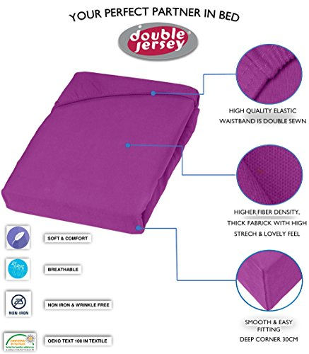 Double Jersey - Spannbettlaken 100% Baumwolle Jersey-Stretch bettlaken, Ultra Weich und Bügelfrei mit bis zu 30cm Stehghöhe, 160x200x30 Prune - 3