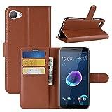 HualuBro HTC Desire 12 Hülle, Premium PU Leder Leather Wallet HandyHülle Tasche Schutzhülle Flip Case Cover mit Karten Slot für HTC Desire 12 Smartphone (Braun)