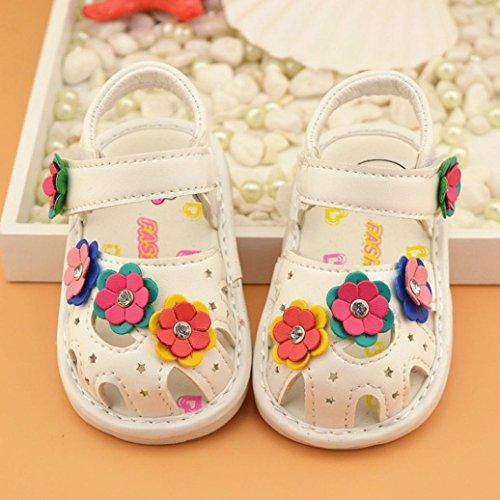 BZLine® Baby Blumen Sandalen Mädchen Princess Leder Schuhe Sandalen Weiß