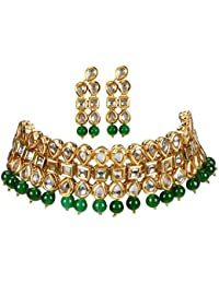 Andaaz Designer Traditional Gold Plated Green Pearl Kundan Necklace Set For Women