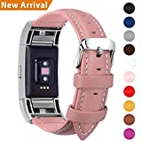 Fullmosa kompatibel Fitbit Charge 2 Armband, Axus Leder Ersatzband Uhrenarmband für Fitbit Charge2 mit Metallverschluss, Pink