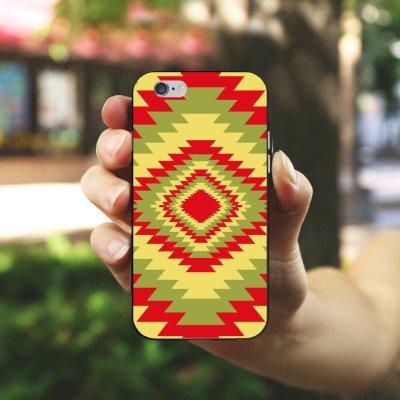 Apple iPhone X Silikon Hülle Case Schutzhülle Ethnostyle Indianer Muster Batik Style Silikon Case schwarz / weiß