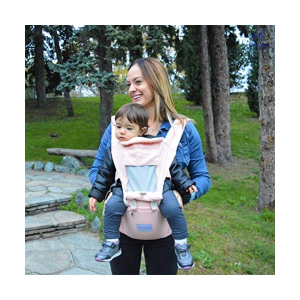 HANLINE LITTLECUDDLES 3-in-1 Ergonomic Baby Carrier Backpack [4 Colours: Turquoise-Blue-Grey] - High Quality/Breathable/Easily Adjustable Fabric - for 0-3 Years Navy Blue (Pink) Hanline LittleCuddles 👶 WE ONLY USE HIGH QUALITY MATERIALS: Hanline LittleCuddles is committed to selecting high quality fabrics to make the use of our baby bags more comfortable and safe. The light cotton combined with the soft padded material which is pleasant to the touch increase the comfort of the newborn and parents. On summer days, you can open the front zip which facilitates the passage of air inside the fabric, thanks to the soft breathable mesh fabric. 📃 CERTIFIED AND TESTED SAFETY: The Hanline baby carrier features a soft HIP seat which makes your baby's position ergonomic and safety. In addition, there are various soft fabric parts that eliminate pressure on the baby's body and the wearer. 🔝 3 PRODUCTS IN 1: The ergonomic 3 in 1 baby carrier can be worn in different positions that best adapt to the different stages of growing baby. 6
